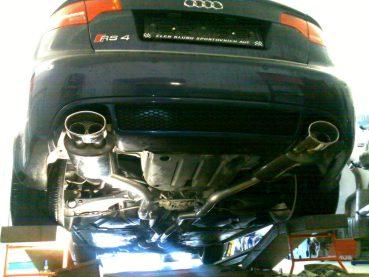 Audi RS4 Powered by Sportmotor - sportovní výfuk Milltek Sport bez rezonátorů, bez klapek v koncových dílech